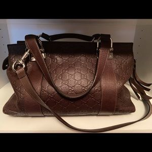 Gucci leather shoulder bag, chocolate brown